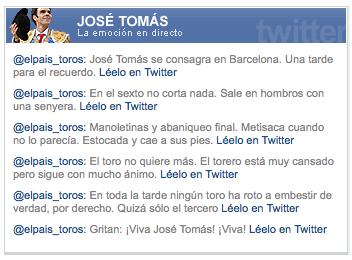 La cobertura de la corrida de José Tomás en Twitter